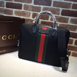 Gucci black canvas brief case GC06BM099