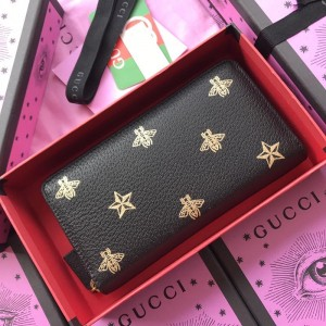 Gucci black zipped purse with bee and star decorations GC07WM037