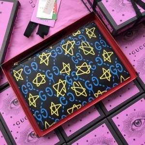 Gucci black leather purse with yellow and blue decorations GC07WM054