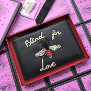 Gucci black leather blind for love purse GC07WM065