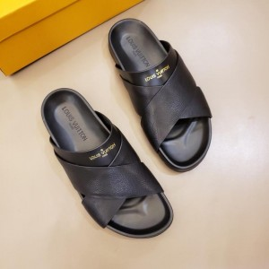 Louis Vuittion black Slippers with crisscross rubber MS021020 Updated in 2019.06.17