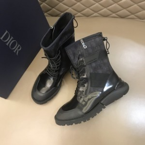 Dior Oblique Calfskin Mid Top Black Boots MS021043 Updated in 2019.10.21