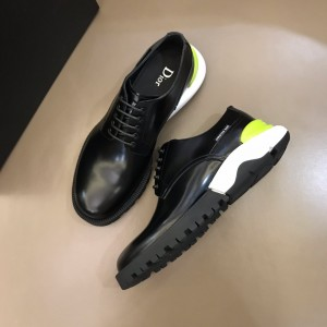 Dior Derby Brogue Loafers In Polished Black Calfskin(Yellow) MS021050 Updated in 2019.10.21