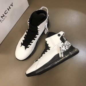 Givenchy sneakers white and black Transparent sole with black printed heel MS021056 Updated in 2019.10.21
