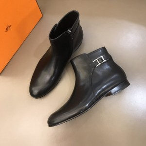Hermes low boot in calfskin with palladium plated double H buckle MS021088 Updated in 2019.10.21
