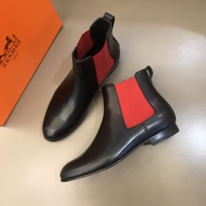 Hermes Chelsea Black and red Boots MS021089 Updated in 2019.10.21