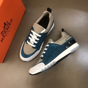 Hermes Sneakers Blue suede and Grey tongue with Two-tone sole MS021090 Updated in 2019.10.21