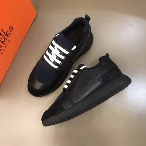 Hermes Sneakers Black and Dark blue tongue with Black sole MS021092 Updated in 2019.10.21