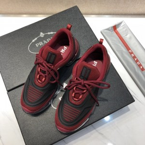 Prada Sneakers Red and black rubber trim with transparent sole MS021116 Updated in 2019.10.21