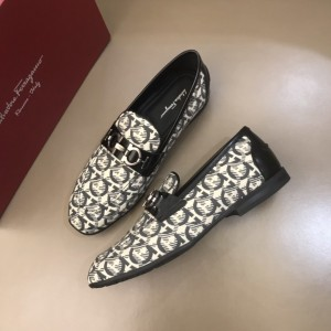 Salvatore Ferragamo White Loafers With Full Pattern MS021128 Updated in 2019.10.21
