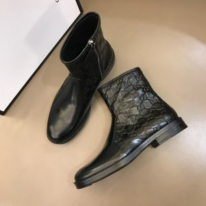 Gucci Black leather Boots With Embossing GG Design MS021147 Updated in 2019.11.28