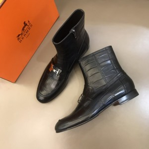 Hermes Black leather Boots With Sliver Button MS021207 Updated in 2019.11.28