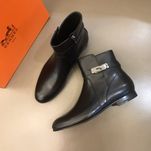 Hermes Black leather Boots With Sliver Button MS021208 Updated in 2019.11.28