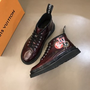 LV brown bright leather Boots with LV design MS021222 Updated in 2019.11.28