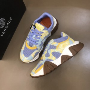 Versace Sneakers Blue and Barocco Homme print with brown sole MS021342 Updated in 2019.11.28