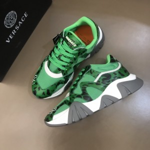 Versace Sneakers Green and Cavallino print with grey sole MS021343 Updated in 2019.11.28