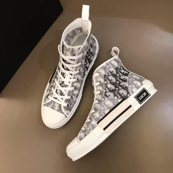 Replica Dior High-top Sneakers White and Dior Oblique tech fabric with white sole MS02623 Updated in 2019.04.19