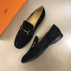 Hermes Suede Leather Loafers With Silver Buckle MS02725 Updated in 2019.04.19