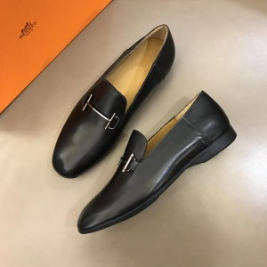 Hermes Bright Leather Loafers With Silver Buckle MS02726 Updated in 2019.04.19