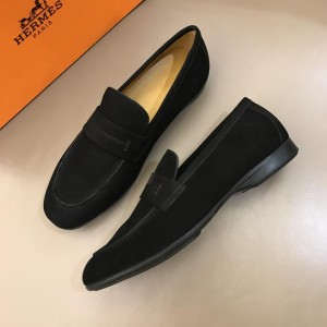 Hermes Black Suede Leather Loafers With Silver Buckle MS02728 Updated in 2019.04.19