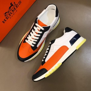 Hermes Sneakers White and Three-color sole with Orange tongue MS02733 Updated in 2019.04.19
