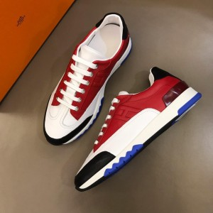 Hermes Sneakers Red and Three-color sole with White tongue MS02738 Updated in 2019.04.19