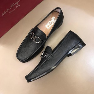 Salvatore Ferragamo Black leather Loafers With Sliver Buckle MS02975 Updated in 2019.04.19 Buckle MS02976 Updated in 2019.04.19