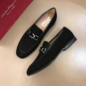 Salvatore Ferragamo Black Suede leather Loafers With Sliver Buckle MS02982 Updated in 2019.04.19