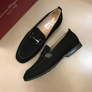 Salvatore Ferragamo Black Suede leather Loafers With Sliver Buckle MS02984 Updated in 2019.04.19