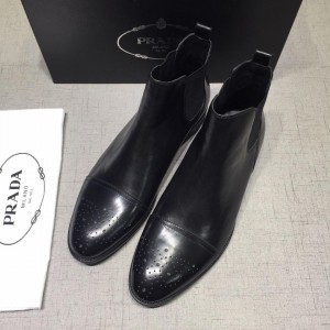 Prada Chelsea Caligoula black bright leather Boots MS071181 Updated in 2019.04.27