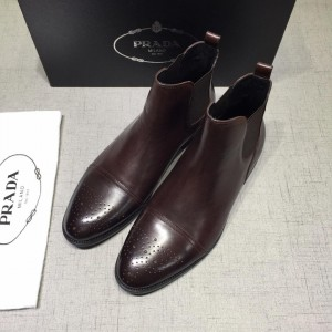 Prada Chelsea Caligoula brown bright leather Boots MS071182 Updated in 2019.04.27