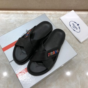 Prada Slippers with colorful letter in crisscross rubber MS071231 Updated in 2019.04.27
