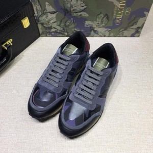 Valentino Sneakers Blue and blue camouflage details with beige soles MS071446 Updated in 2019.04.27