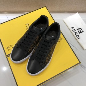 Fendi Sneakers Black and FF theme print with White rubber sole MS07219 Updated in 2019.04.27