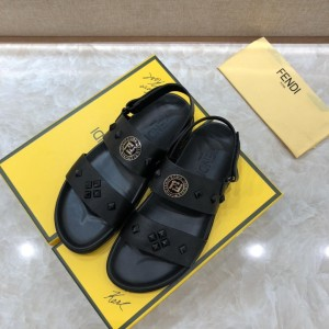 Fendi Black Leather Sandals With FF Design MS07233 Updated in 2019.04.27