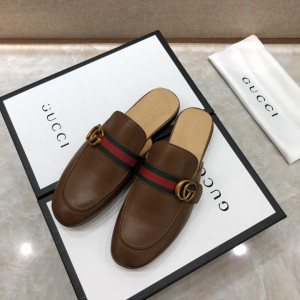 Gucci brown Princetown Slipper with double G MS07521 Updated in 2019.04.27