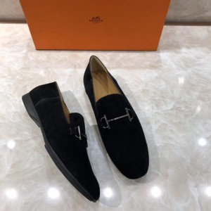 Hermes Black Suede leather Loafers With Silver Buckle MS07791 Updated in 2019.04.27