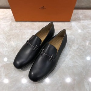 Hermes Black Leather Loafers With Silver Buckle MS07792 Updated in 2019.04.27