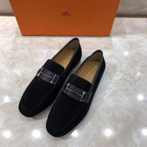 Hermes Black Suede leather Loafers With Silver Buckle MS07793 Updated in 2019.04.27