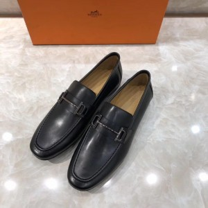 Hermes Black Leather Loafers With Silver Buckle MS07794 Updated in 2019.04.27