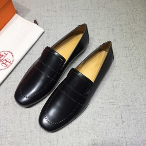 Hermes Black Leather Loafers MS07799 Updated in 2019.04.27