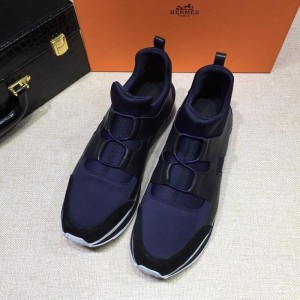 Hermes Sneakers Blue and Black leather surround with Two-tone sole MS07809 Updated in 2019.04.27