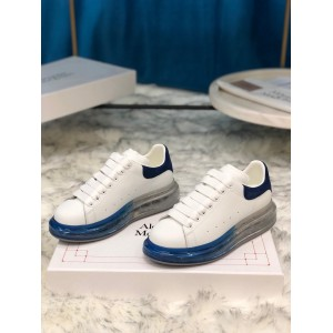 Alexander McQueen Sneaker White and blue suede heel with transparent sole MS100020 Updated in 2019.09.17