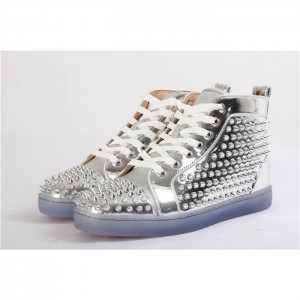 Christian Louboutin Louis Flat Leather High Top Silver Sneakers