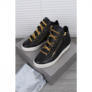 Giuseppe Zanotti Black And Gold Chain London Birel Sneakers