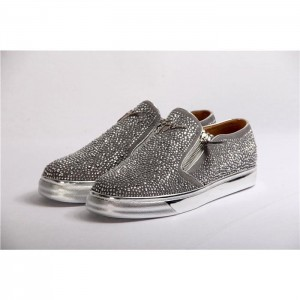 Giuseppe Zanotti Adam Embellished Slip On Sneakers Metallic