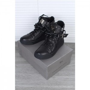 Giuseppe Zanotti black chain leather high-top sneakers