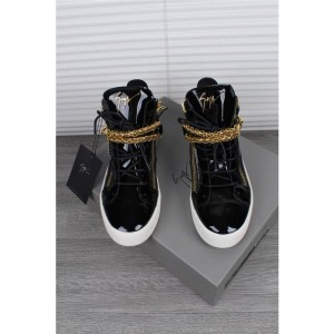 Giuseppe Zanotti black and gold chain detail high-top sneakers