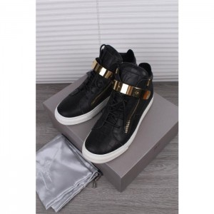 Giuseppe Zanotti Black Crocodile Embossed High Top Sneaker