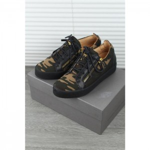 Giuseppe Zanotti black camouflage double zip Kriss sneakers